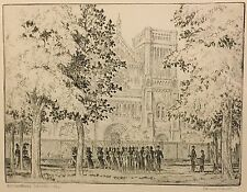 EDWARD GREGORY SMITH American ETCHING Rittenhouse Square Philadelphia in 1862