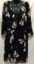 New Look Dress Plus 2X 18 20 Black Floral Shift Ruffle 3/4 Knee Womens New 3180