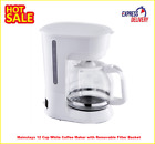 Mainstays 12 Cup White Coffee Maker with Removable Filter Basket photo