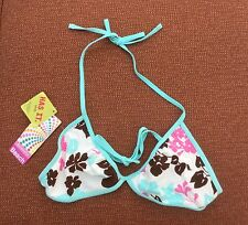 Accessorize Multicolour Floral Bikini Top Size 12 BNWT, Ivory with Turquoise
