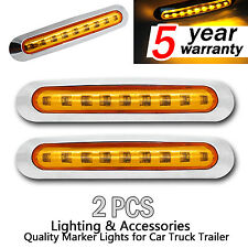2X Amber 9 SMD LED Side Marker Indicator Tail Light Clearance Lamp Truck Trailer