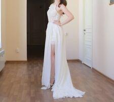 Vintage Ivory vestido de novia vestido de bodas del registro civil punta asimétrico