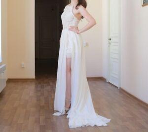 Vintage Ivory Brautkleid Hochzeitskleid Standesamt Spitze asymmetrisch