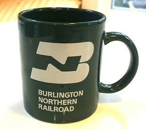 Vintage Green Burlington Northern Railroad Coffee Cup Mug