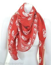 ALEXANDER McQUEEN RED & SILVER SKULL SCARF BOLD COLOURS PERFECT GIFT BNWT SILK