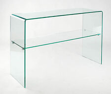 Glass Waterfall Style Console Table with Shelf