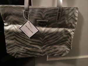 Michael Kors Metallic Silver Animal Print Large Handbag