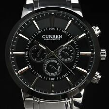 CURREN Fashion Black Case Men's Stainless Steel Military Sport Quartz Watch