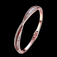 Fashion Women Girl 24k Rose Gold Crystal Bangle Cuff Bracelet Jewelry Gift
