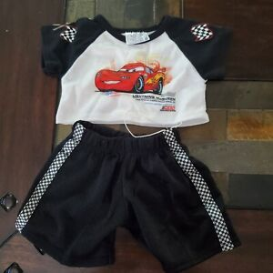 Build a Bear Disney Cars Lightning McQueen Outfit checkerboard trim shorts
