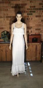 Vintage  Antique LADIES COTTON DRESS Crochet Edging Pull Tie Waist White Hippie