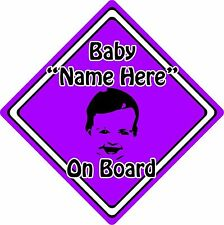 Personalised Baby/Child On Board Car Sign ~ Baby Face Silhouette ~ Neon Purple