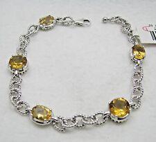NEW Victoria Wieck Citrine Gemstone Roped Link Sterling Tennis Bracelet NWT $179