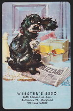 1 Single VINTAGE Swap/Playing Card BUTCH DOG IN BLIZZARD ADV Webster's Esso ART