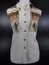 Cool Women's Medium Roughrider by Circle T Design Vest over White Button Blouse