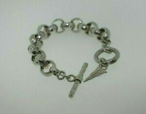 """Barry Brinker Sterling Silver Hammered Rolo Link Toggle Bracelet 8"""""""