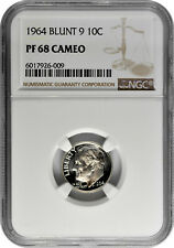 1964 10c Blunt 9 Silver Proof Roosevelt Dime NGC PF 68 Cameo