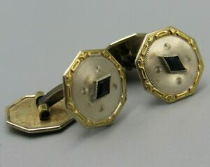 Mens Vintage CUFFLINKS VICTORIAN 4 SIDED BLACK ONYX Costume Jewelry U48