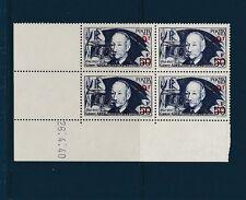 timbre France bloc de 4 coin daté  Clément Ader   surchargé  1941  num: 493  **