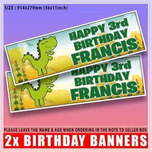 """2 PERSONALISED DINOSAUR BANNERS 3ft - 36 """"x 11"""" PARTY BIRTHDAY ANY NAME AGE DRAW"""