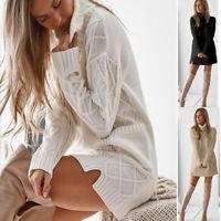Womens Knit Sweater Jumper Dress Ladies Long Sleeve Spring Mini Dress Tops Sizes