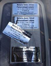 250 SILVER / GOLD METALLIC LABELS PERSONALISED PRINTED BLACK WATERPROOF