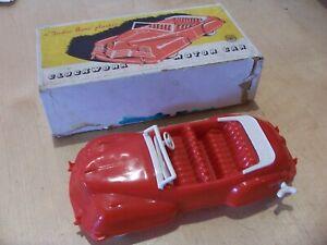 RARE Boxed TUDOR ROSE CLOCKWORK CAR 1950s Early Plastic Toy ROSEDALE
