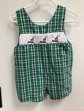 (D57) Green Plaid Shortall Sailboat Smocked 12 18 24 Months?