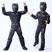 Kids Boys Black Panther Superhero The Avengers Fancy Dress Costume Cosplay Gifts