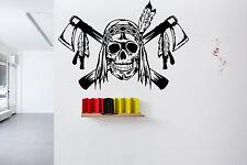 Wall Room Decor Vinyl Sticker Skull Boy Decal Indian Chief Warrior Tattoo FI2077