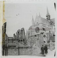Francia Cattedrale Foto Stereo PL46Th1n2 Placca Da Lente Vintage C1925