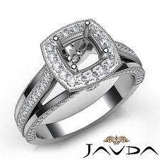 Halo Pave Cushion Diamond Engagement Platinum Semi Mount Millgrain Ring 0.90Ct
