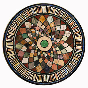 "36"" Marble Table Top Handmade Pietra Dura Work Home Decor"