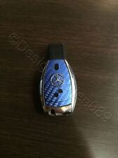 Carbon Blau Folie Dekor Schlüssel Mercedes A B C D E G S Klasse AMG 2 Tasten