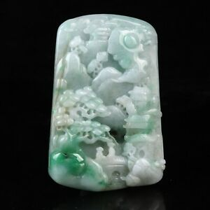 Chinese Exquisite Handmade landscape character carving jadeite jade Pendant