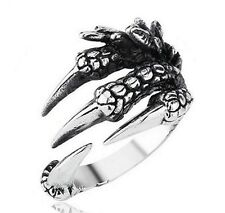 Stainless Steel Silver Gothic Jewelry Dragon 4 Claw Ring Punk Eagle