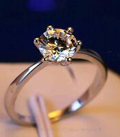 Solitaire Bague Argent Diamant Zirconium Fiançaille Cadeau Bijou Ring Silver