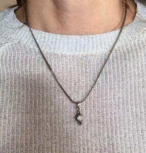 Vtg Vintage  Rhinestone Charm Delicate Silver Tone Necklace