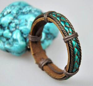 Mens Cool Fabric Band Surfer Leather Hemp Braided Bracelet Wristband Lake-Green