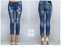Women Stretch Skinny Slim Fitted Denim Jeans Distressed Slit Casual Cropped Cute