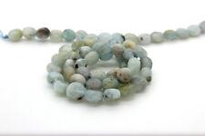 Aquamarine Smooth Flat Circle Round Natural Loose Gemstone Beads - Full Strand