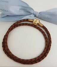 Authentic Pandora Brown Leather 34 cm Double Wrap GOLD CLASP Bracelet 14k Rare