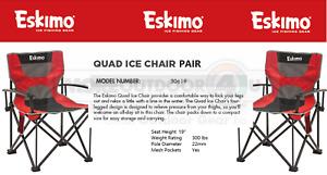 30619 NEW Eskimo Quad Folding Ice Fishing Shelter Ice Fishermen 2 Chair Pair