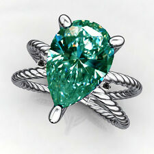 Pear Moissanite Diamond.925 Silver Ring 1.85ct Vvs1>Gift Natural Blue Green