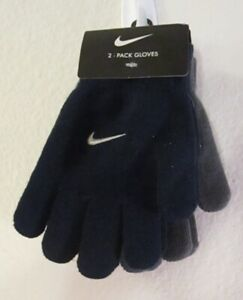 NWT Nike Youth Boys Solid Knit Gloves 2-Pack 8/20 Obsidian/Dark Grey MSRP$20