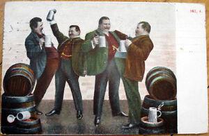 1908 Postcard: Men Drinking Beer w/Mugs, Barrels, Stein