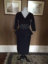 $695 LA PETITE ROBE CHIARA BONI MATILDA BLACK PEPLUM DRESS SZ 46/10  NWT