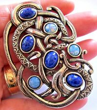VINTAGE DESIGN SOLDOR MIRACLE JEWELLERY VIKING SNAKE BIG CELTIC LAPIS PIN BROOCH