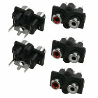 Home Office Mount AV Concentric Outlet 2 RCA Female Socket Board Black 5pcs