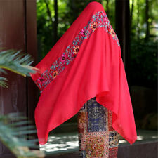 NL Women Large Embroidered Floral Scarf Cotton Linen Pashmina Shawl Wrap Scarves